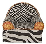 Cotton Tale Designs 100% Cotton Orange and Yellow Floral with Brown and Tan Jungle Safari Zoo Zebra Animal Print Baby/Toddler Foam Chair, Sumba