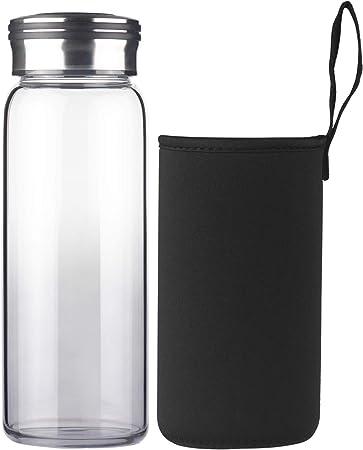 Cleesmil Reusable Glass Water Bottle with Neoprene sleeve BPA free Leak proof 1000 ml 1 Litre