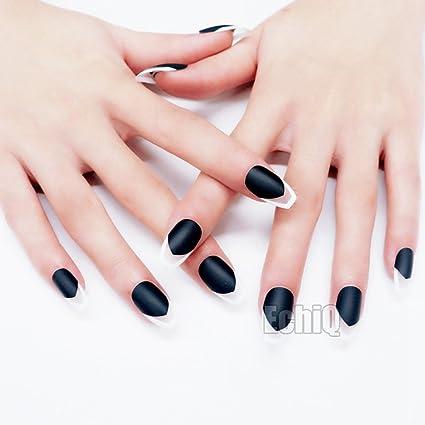 echiq nueva bailarina ataúd uñas Classic mate negro blanco falso uñas completo uñas ataúd forma uñas