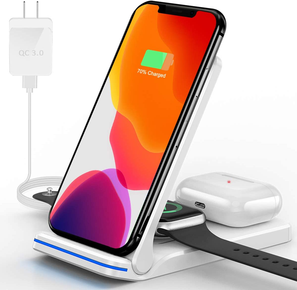 Wireless Charger, 3 in 1 Wireless Charging Station for iWatch, AirPods Pro/2, Qi Fast Wireless Charging Stand for iPhone 12/11 Series/XS MAX/XS/XR/X/8/8 Plus and All Qi-Enabled Phones (White)