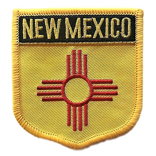 (New Mexico Flag Badge Patch/U.S. State Shield Embroidered Iron-On/Sew-On Patch Collection (NM Crest, 3.00