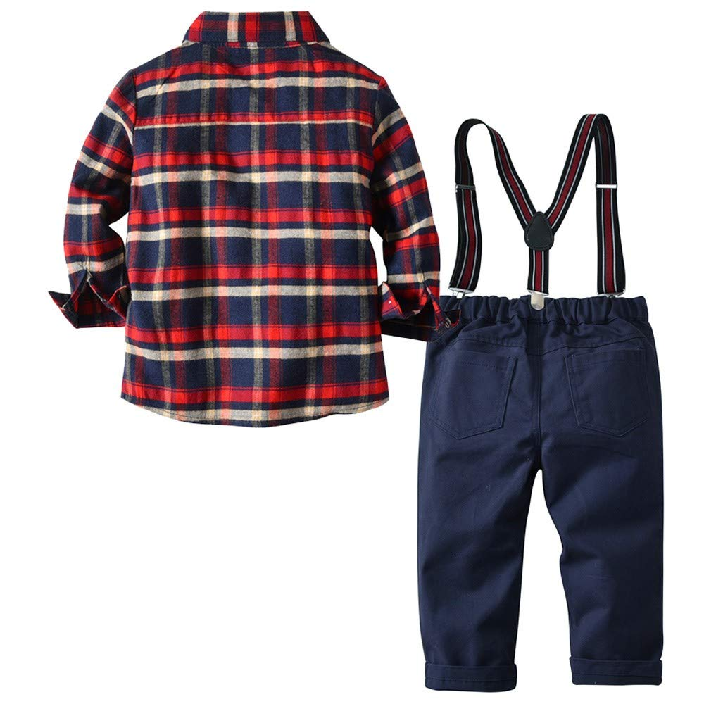 12 Months-4 Years BURFLY Toddler Baby Gentleman Kid Boy Plaid Shirt Scottish Pattern Checked Tops with Trousers Overalls Outdoor Clothing Set