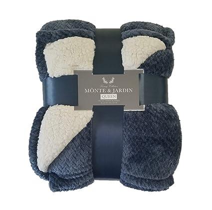 Monte & Jardin Velvet Sherpa Blanket Queen (Blue)