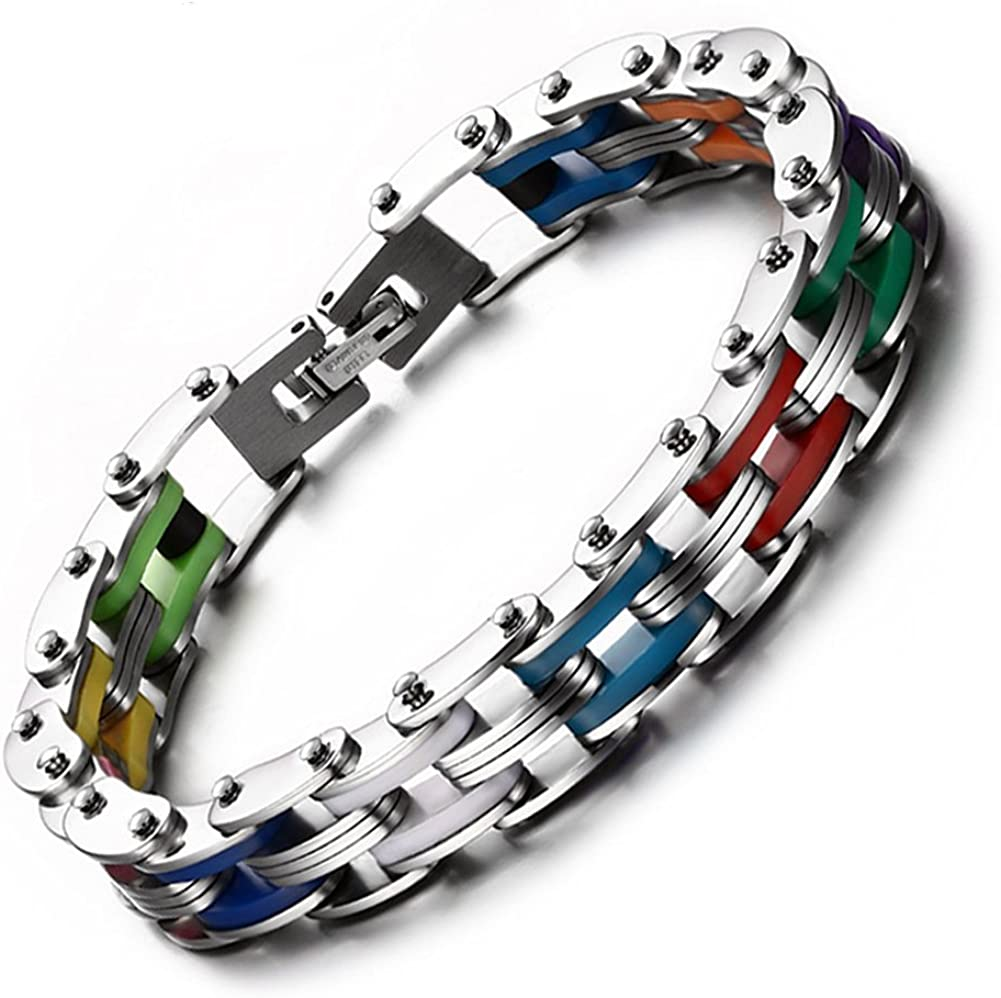 JAJAFOOK Men's Rainbow Silicone Stainless Steel Bike Chain Bracelet,Polish Finished,Length 205mm
