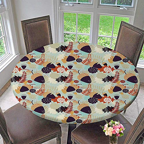 Mikihome Picnic Circle Table Cloths with Oak Tree Leaves and Acorns Themed for Family Dinners or Gatherings 35.5