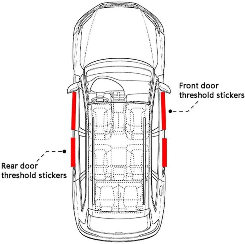 4Pcs para Nissan Patrol Coche Desgaste Pedal Decoraci/ón Estribos Travesa/ño Pegatinas Accesorio Decoraci/óN YQTYGB Fibra de Carbon Protector Barra Umbral Puerta