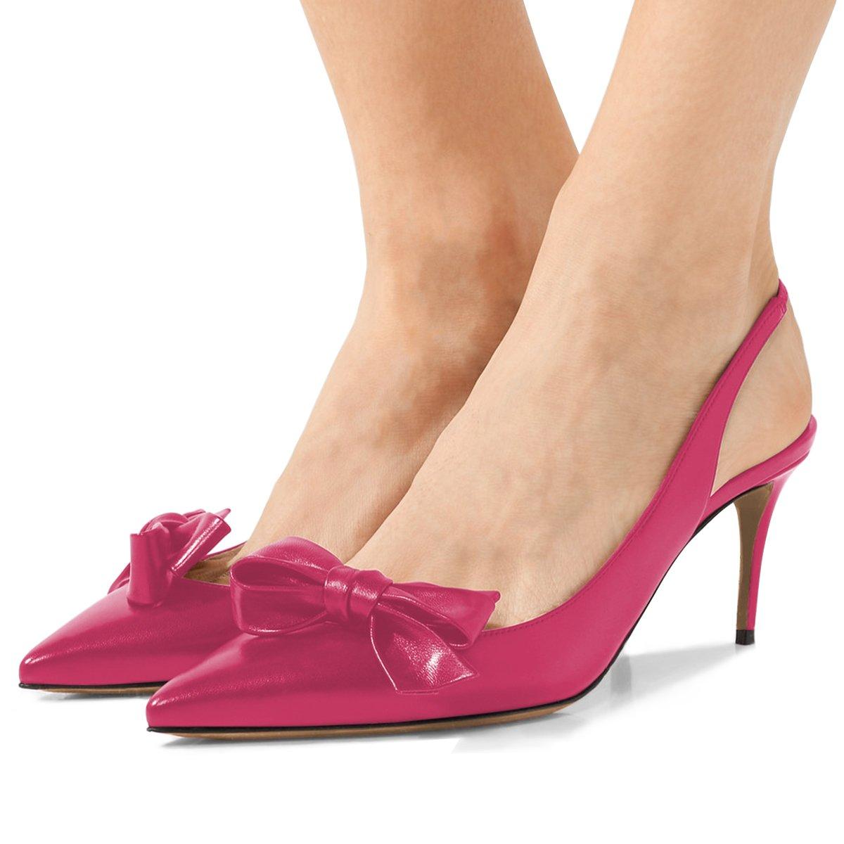 XYD Women Fashion Pointed Toe Slingback Pumps High Heel Slip On Dress Shoes with Bows B0799G7LQ5 11 B(M) US Hot Pink