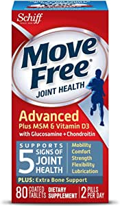 Glucosamine and Chondroitin Plus MSM & D3 Advanced Joint Health Supplement Tablets, Move Free (80 Count In A Box), Supports Mobility, Comfort, Strength, Flexibility and Lubrication* (Pack of 3)