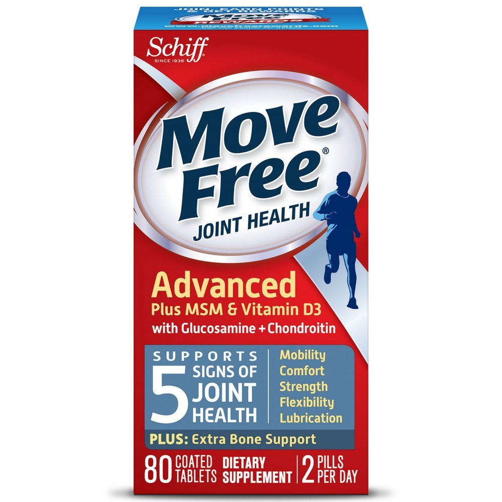 Move Free Advanced Plus MSM and Vitamin D3, 80 tablets - Joint Health Supplement with Glucosamine and Chondroitin (Pack of 6)