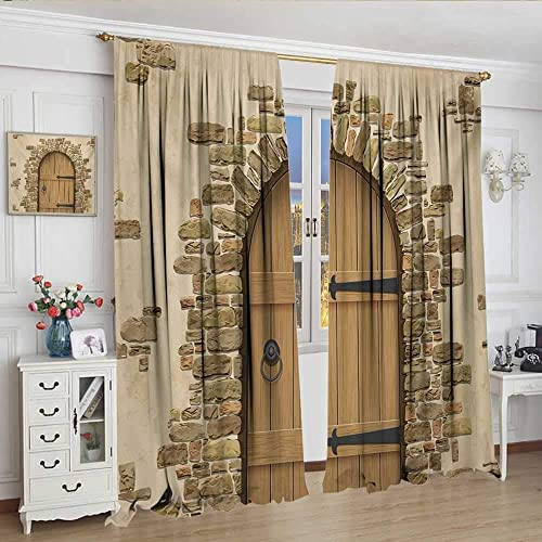 WinfreyDecor Rustic Decor Curtains by Wine Cellar Entrance Stone Arch Ancient Architecture European Building Patterned Drape for Glass Door W84 x L96 Sand Brown Pale Brown.jpg