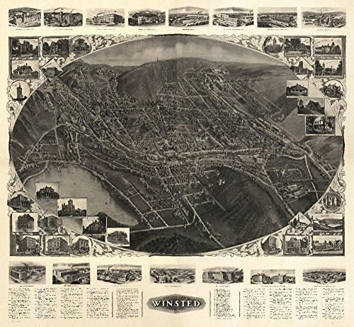 Winsted, Connecticut - Panoramic Map (36x54 Giclee Gallery Print, Wall Decor Travel Poster)
