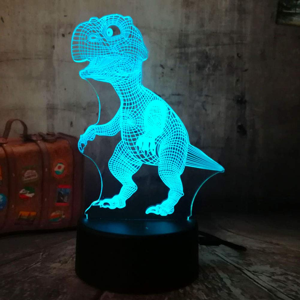 Dinosaur Night Light 3D Illusion Table Lamp Touch 7 Color Changing Toys Bed Room Decor Birthday Gifts Christmas Present