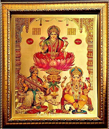 SHINE MILL Hindu spiritua God Idoll Wall Hanging Handicraft Lakshmi and Saraswati MATA and Ganesh Ji Photo Framed Painting (24x33cm) (Best Photos Of Ganesh Ji)