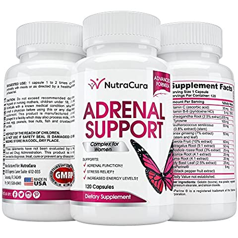 NutraCura Adrenal Support for Women - Adrenal Fatigue Supplement - 120 Capsules - Adrenal Boost