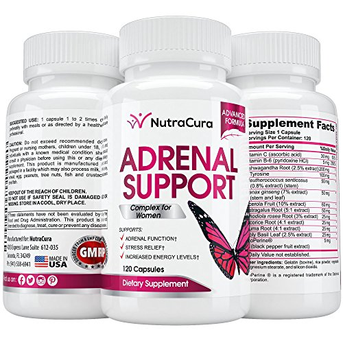 (NutraCura Adrenal Support for Women - Adrenal Fatigue Supplement - Cortisol Manager - A Complex Formula of Natural Ingredients, Includes Ginseng, Tyrosine, Ashwagandha Rhodiola Rosea. 120 Capsules)