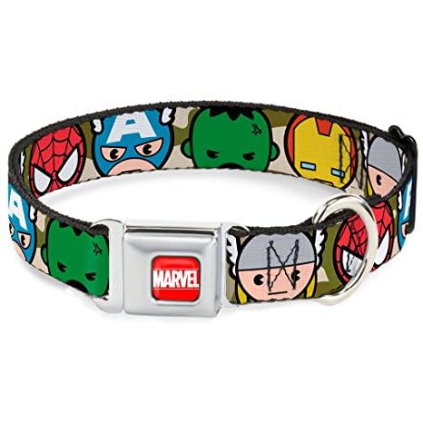 Buckle Down Seatbelt Buckle Dog Collar - Kawaii Avengers Faces CLOSE-UP Camo Olive -