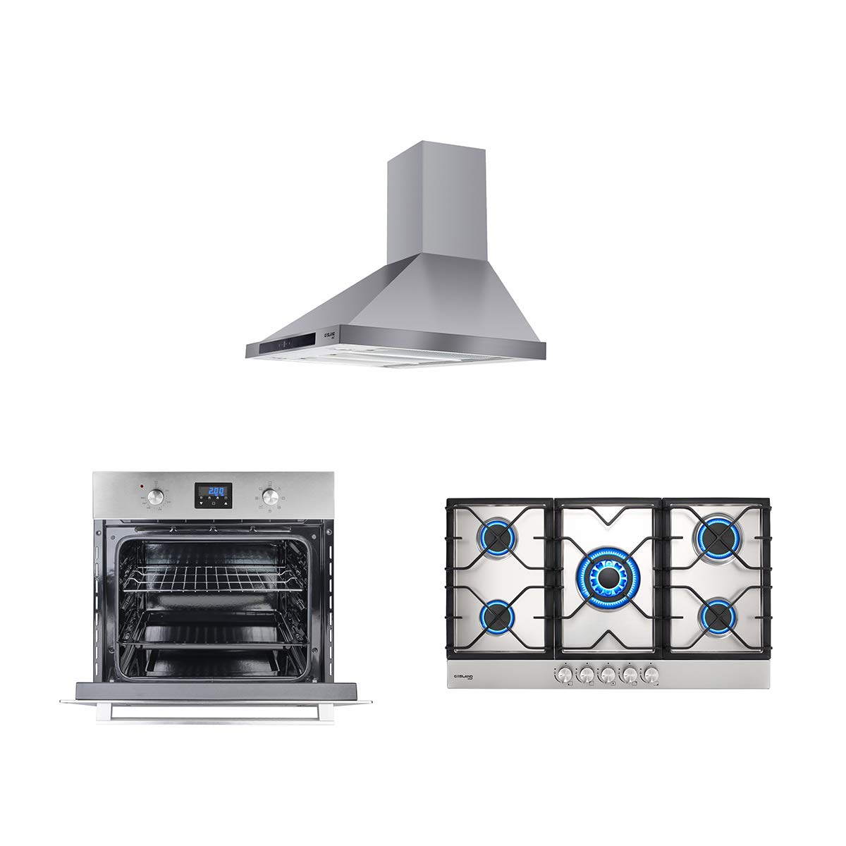 "GASLAND Chef 3-Piece Stainless Steel Kitchen Package with PR30SS 30"" 120V Wall Mounted Range Hood + GH90SF 34"" 5 Burner Propane Natural Gas Cooktop + ES609DS 240V 24"" Electric Single Wall Oven"