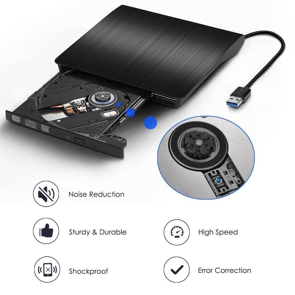 External CD DVD Drive , Portable DVD Rewriter Burner, USB 3.0 DVD Drive CD +/-RW DVD +/-RW Burner Super Drive for Apple Mac Macbook Pro Windows 10 Laptop PC (Black) by feifuns (Image #4)