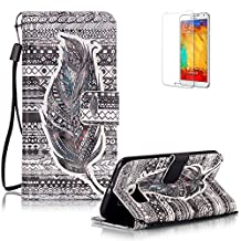 Samsung Galaxy S6 G920 Case Cover [with Free Screen Protector], Funyye Elegant Premium Folio 3D Patterns PU Leather Wallet Magnetic Flip Cover with [Wrist Strap] and [Credit Card Holder Slots] Color Painted Pattern Design Stand Case Cover for Apple Samsung Galaxy S6 G920 - Tribal Stripes Feather