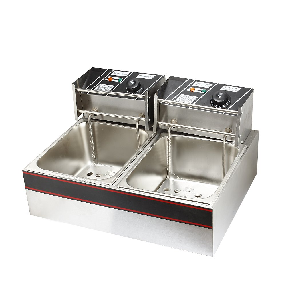 Flexzion Deep Fryer Dual Tank 3400W 12L Liter Electric Countertop Double Basket Stainless Steel for Commercial Restaurant Kitchen with Adjustable Temperature by Flexzion (Image #1)