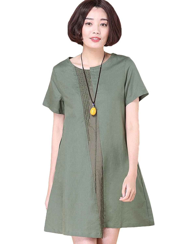 MatchLife Damen Embroidery Freizeitkleider Kurzarm Top M
