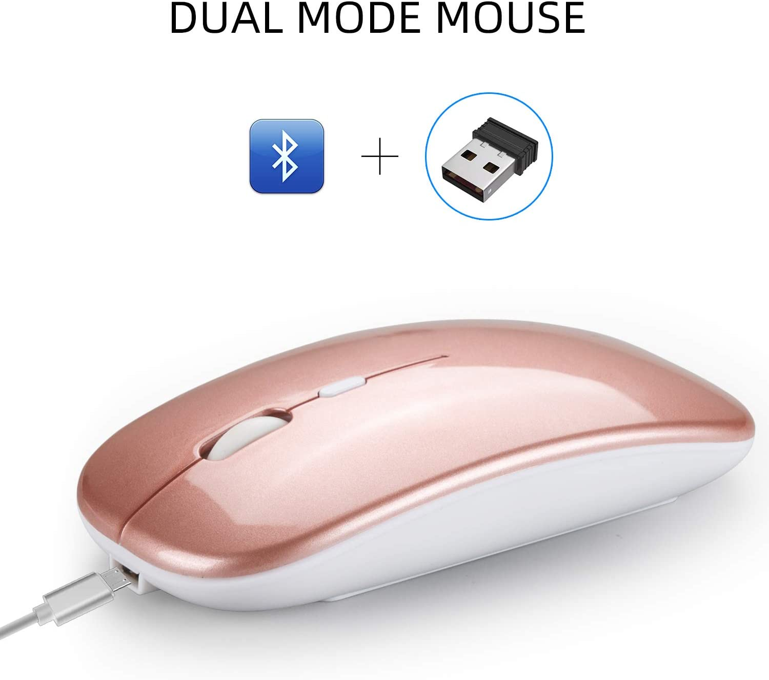 Alician Electronics for Dual Mode Bluetooth 4.0 2.4G Wireless Mute Computer Mouse for PC Laptop Silver