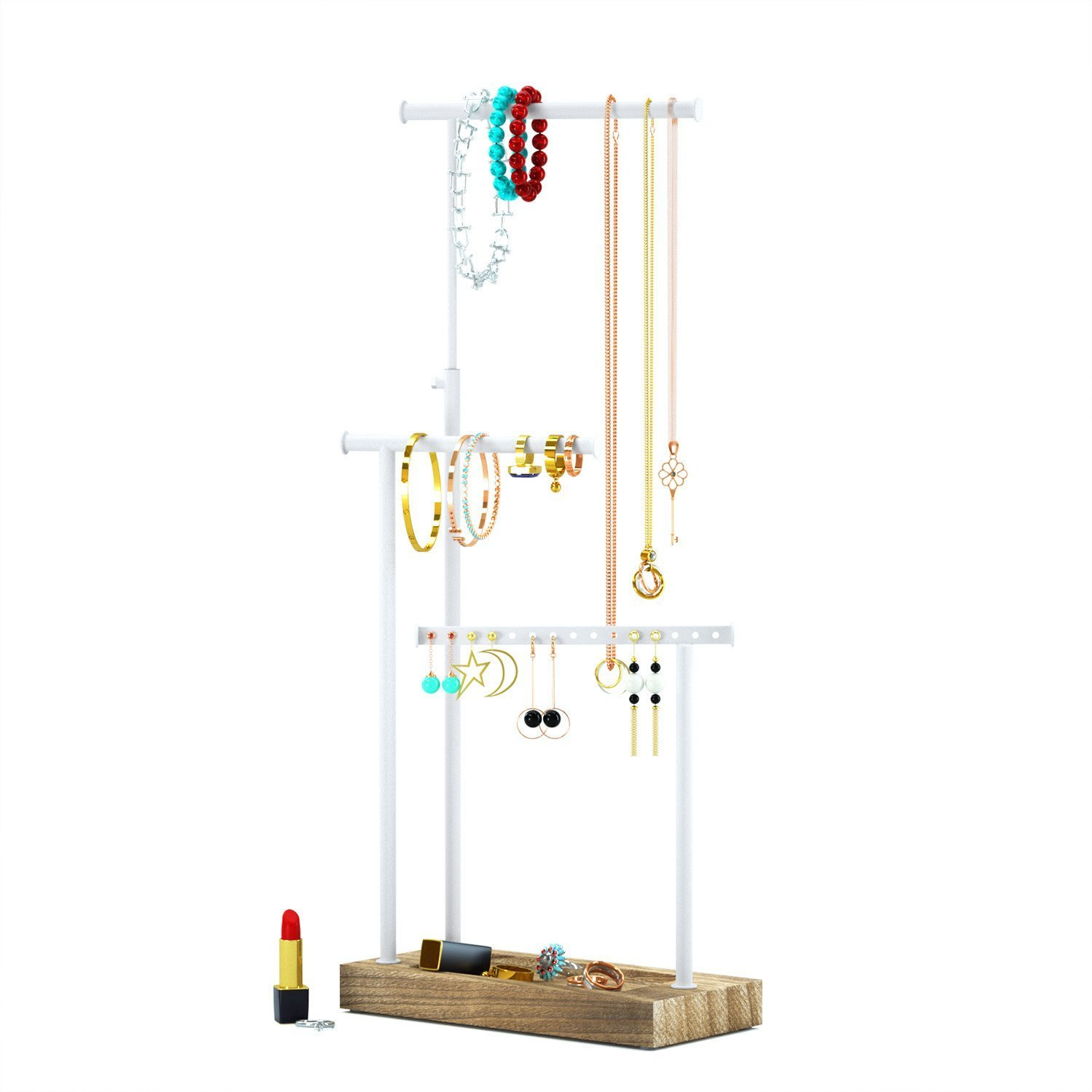 RooLee Jewellery Stand/Necklace Holder Metal Jewellery Holder with Large Capacity for Necklace, Bracelet,and Earrings Storage (Torched Finish) SRIWATANA EU 200000002