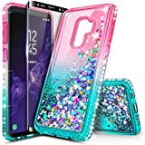 NageBee Galaxy S9 Case with Screen Protector (Full Coverage) for Girls Women, Glitter Liquid Sparkle Bling Floating Waterfall Quicksand Diamond Shockproof Cute Case for Samsung Galaxy S9 -Pink/Aqua