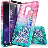 Galaxy S9 Plus Case with Screen Protector (3D PET Full Coverage) for Girls Women, NageBee Glitter Liquid Floating Sparkle Bling Waterfall Diamond Cute Case for Samsung Galaxy S9+ /S9 Plus -Pink/Aqua