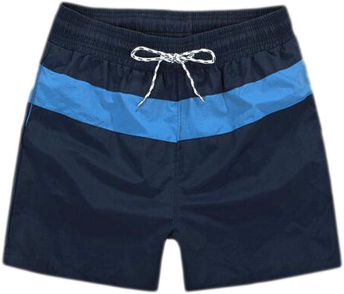 KXP Mens Classic Quick Dry Mid Waist String Color Block Beach Shorts Royal Blue Medium