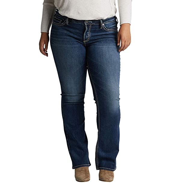 Silver Jeans Co. Womens Plus Size Suki Curvy Fit Mid Rise Slim Bootcut Jeans