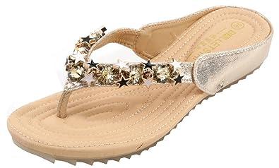 AgeeMi Shoes Damen Rund Offener Zehe Diamanten PU Beach Flip Flop Sandalen,EuL08 Silber 39