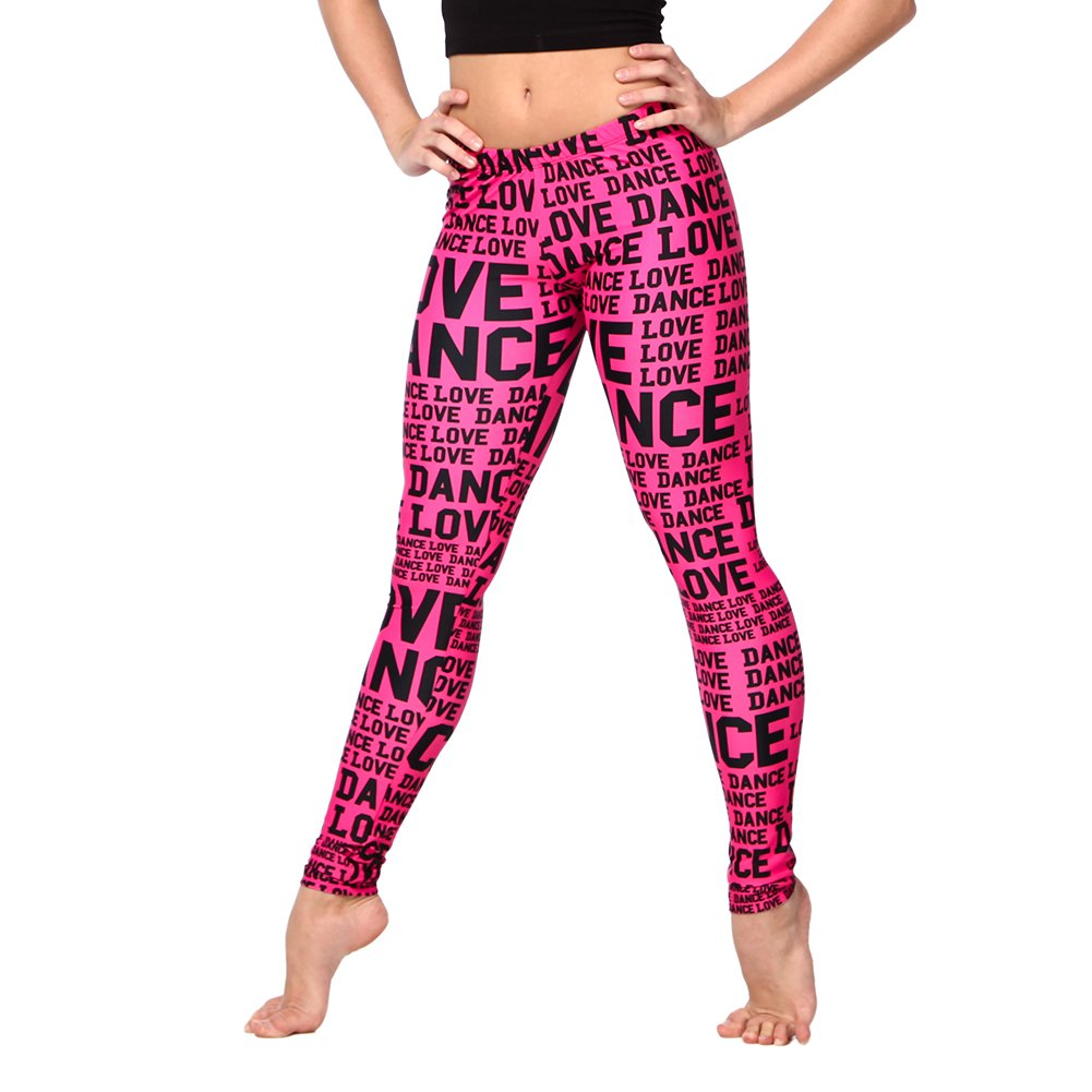 Alexandra Collection Womens Love Dance Athletic Workout Leggings Pink/Black Small
