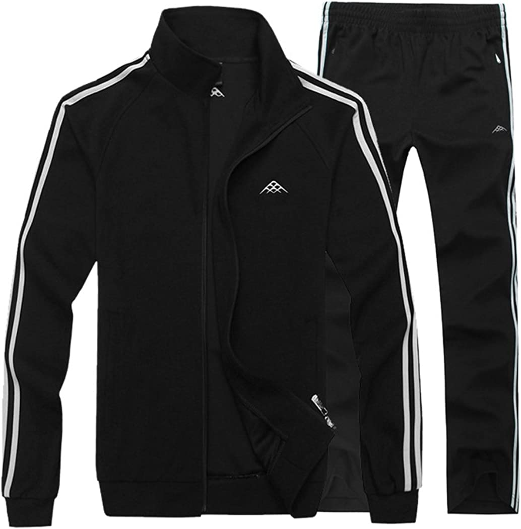 Real Spark Mens Athletic Full-Zip Jogger Sweat Suit Sports Sets Casual Tracksuit