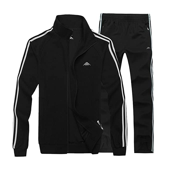 Modern Fantasy Men's Classic Striped Winter Tracksuit Running Joggers Sports Warm Sweatsuit Big
