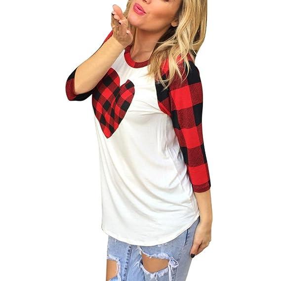Cinnamou Camisas Manga Larga Elegante Moda con Cuello Redondo Blusa Casual Tunicas Pullover Forma de Corazón