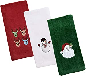 Christmas Hand Towels 3 Pieces Set, 100% Cotton Kitchen Towels, Holiday Soft Dish Towels for bathroom, Fingertip Towels Washcloth Christmas Decor/Gifts,Embroidery Design,12x18 inch(red,green,white)