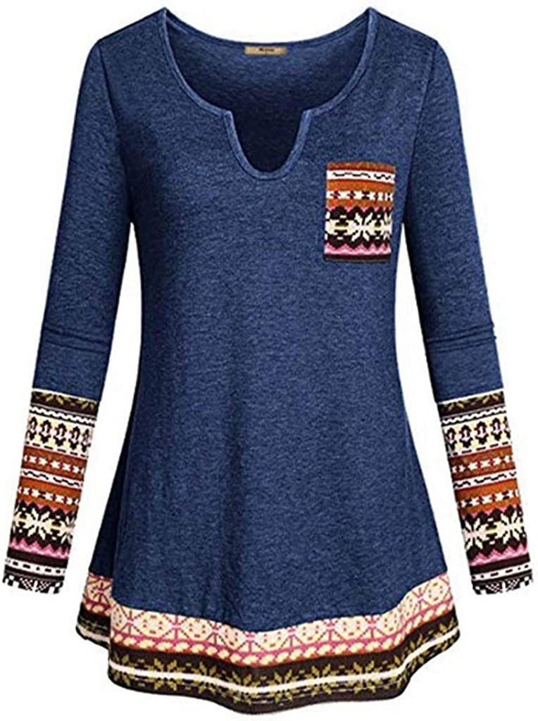 Dermanony Womens Long Sleeve Tunic Tops Casual Vintage Printed Solid Color Patchwork Pocket Blouse Shirt Pullover