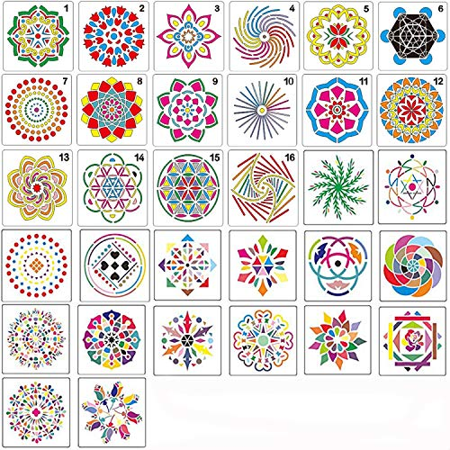 32 Pack Mandala Dotting Stencils,Mandala Dot Painting Templates Stencils for DIY Rocks Stone Airbrush Wall Art Canvas Wood Furniture Cards Painting Art Projects
