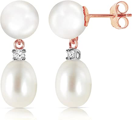Rose Gold Shell Cute mix TG4101 14K Solid Gold stud Earrings Real Rose Gold White 4mm Pearl