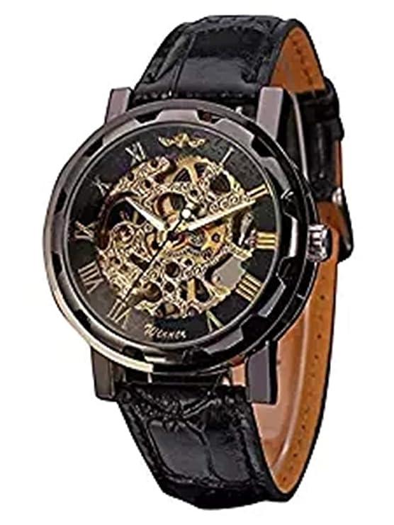Review Mudder Men's Mechanical Elegant Skeleton Dial Wrist Watch, Black