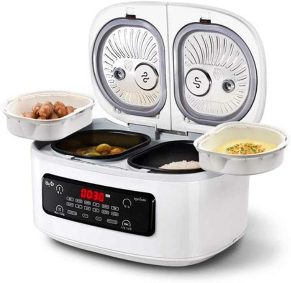 HANBUNAH 4 In 1 Multi Smart Electric Cooker Lee Young-ja 2 Stage 4 compartments Rice Cookers Pot 220v Korea (white)