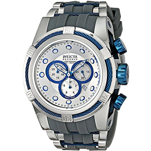 Invicta Men's 14410 Bolt Chronograph Silver Dial Grey Polyurethane Watch