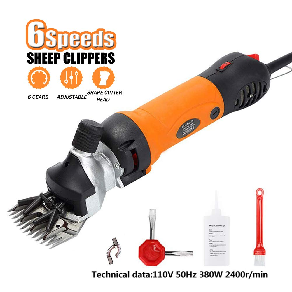 WJCD Sheep Shears Animal Clipper,Alpaca Camels Electric Horse Shears 6 Speeds Electric Hair Trimming Scissors Thick Skin and Heavy Animals Farm Animals Pet Hair Grooming (Sheep Shear Orange)
