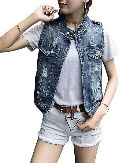 Damen Jeansweste Festliche Hübsch Trendigen Jacke Perfect Frühling Herbst Sleeveless Zerrissen Button Slim Fit Young Fashion