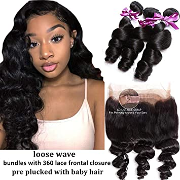 Human Hair Weaves Strict 3 Bundles Malaysian Loose Wave With Pre Plucked Closure With Baby Hair Bouncy Curl No Shedding No Tangle Non Remy Black 1b 3/4 Bundles With Closure