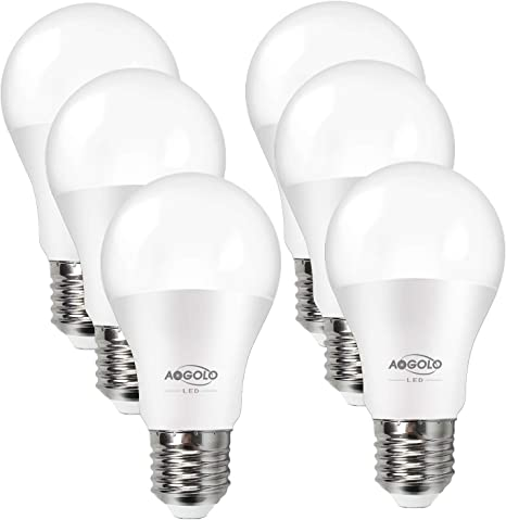 Aogolo 5 5w A19 Led Light Bulb 40 Watt Equivalent Efficient Led Bulbs 500lm E26 Medium Screw Base Soft White Warm Non Dimmable 220 Degree Beam Angle Ul Listed Standard Replacement 2700k 6 Pack
