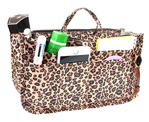 Vercord Printed Purse Handbag Tote Insert Organizer 13 Pockets with Zipper Handle Leopard Medium