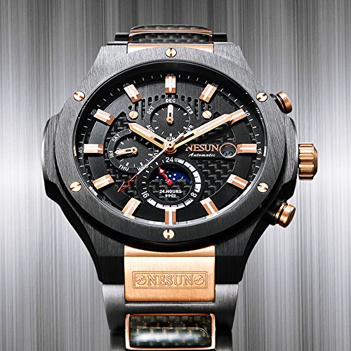 Men's Military Multifunction Automatic Mechanical Analog Stainless Steel Black Sports Luminous Watch (Rose Gold-Black) by NESUN (Image #3)