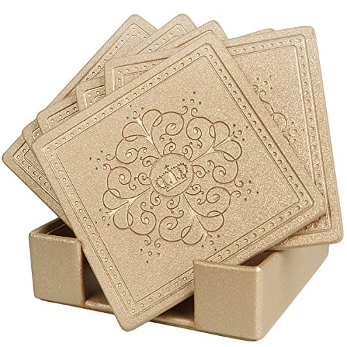 HappyDavid Champagne Gold Leather Square Placemats Cup Mat Set of 6 with (Champagne Living Room Set)